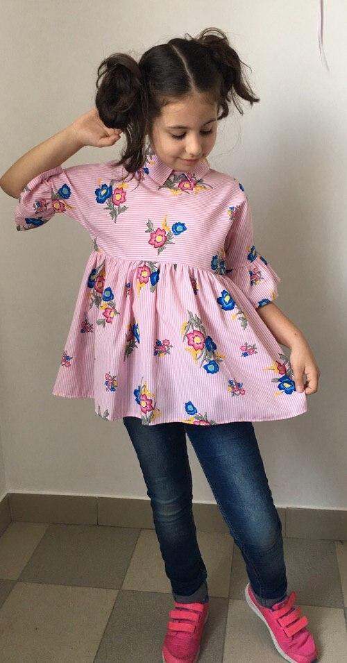 """Нарядная детская блуза в полоску """"Милашка"""" с оборками и цветочным принтом (2 цвета)"""