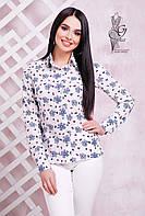 Женская приталенная блузка с длинным рукавом Бабби с принтом бантики