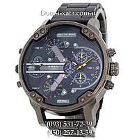 Мужские часы Diesel Brave black, кварцевые, элитные часы Дизель Брейв, стальной ремешек, синий цифе