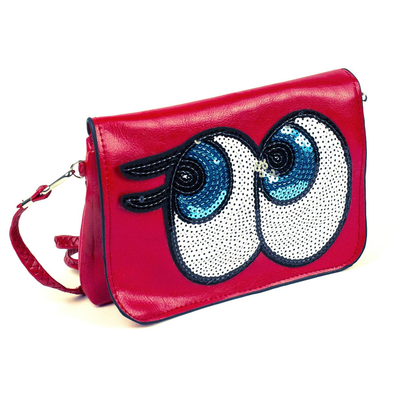 Сумочка детская Big Eyes красная с пайетками