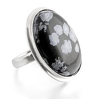 Обсидиан снежный, серебро 925, кольцо, 433КО