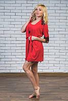 Комплект ночная рубашка + халат красный