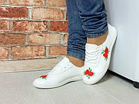 Женские модные белые мокасины цветы