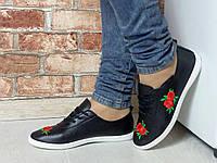 Женские модные черные мокасины цветы