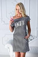 Платье-туника летнее с принтом Vogue, разные расцветки, стандартные размеры черный+белый, 42-46