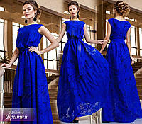 Красивое синее выходное платье в пол с цветочным принтом