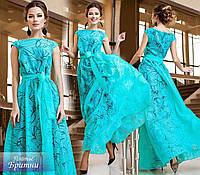 Красивое мятное выходное платье в пол с цветочным принтом