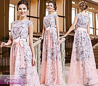 Красивое персиковое выходное платье в пол с цветочным принтом