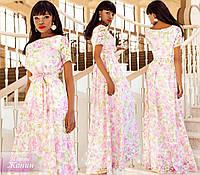 Белое нарядное выходное платье в пол с розовым цветочным принтом