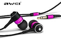 Розовые наушники-вкладыши для MP3/MP4/мобильного телефона AWEI ES-Q3 с качественной шумоизоляцией