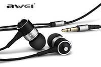 Серебристые наушники-вкладыши для MP3/MP4/мобильного телефона AWEI ES-Q3 с качественной шумоизоляцией