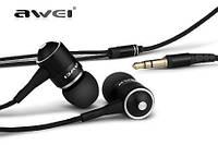 Черные наушники-вкладыши для MP3/MP4/мобильного телефона AWEI ES-Q3 с качественной шумоизоляцией