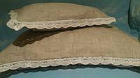 Льняное постельное белье с кружевом 200х220 (оршанский серый лен)