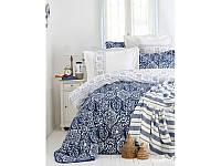 Набор постельное белье с покрывалом + пике Karaca Home - Cunda 2017-2 blue евро