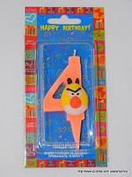 """Свеча на торт детская """"Angry Birds"""" цифра """"4"""" оранжевая"""