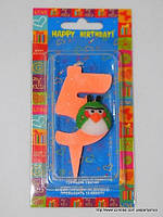 """Свеча на торт детская """"Angry Birds"""" цифра """"5"""" оранжевая"""
