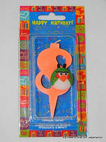 """Свеча на торт детская """"Angry Birds"""" цифра """"8"""" оранжевая"""