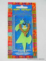 "Свеча на торт детская ""Angry Birds"" цифра ""2"" салатовая"