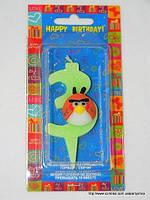 "Свеча на торт детская ""Angry Birds"" цифра ""3"" салатовая"