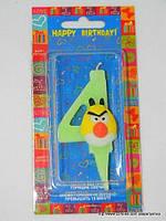 "Свеча на торт детская ""Angry Birds"" цифра ""4"" салатовая"