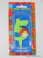 "Свеча на торт детская ""Angry Birds"" цифра ""5"" салатовая"