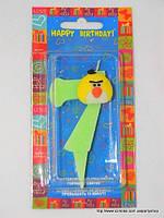"Свеча на торт детская ""Angry Birds"" цифра ""7"" салатовая"