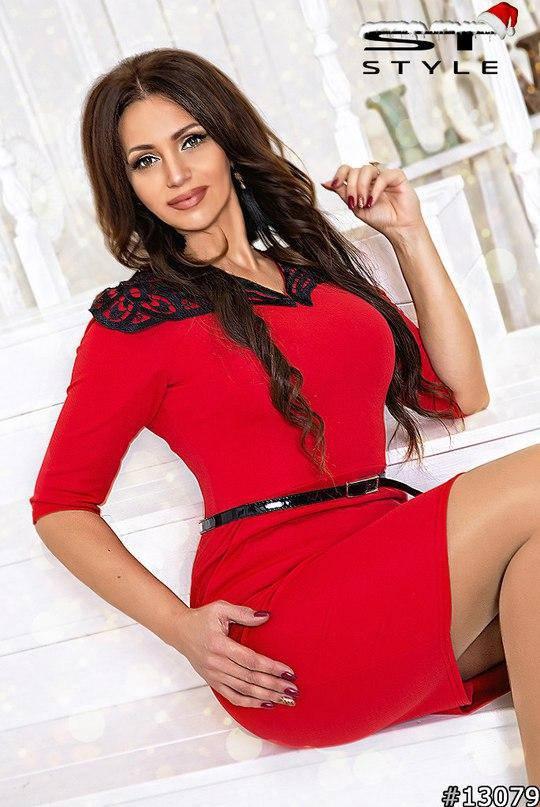 Платье больших размеров с кружевным воротником арт 28271/502-41