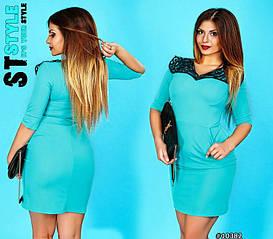 Платье больших размеров с красивым воротником из кружева арт 28273/502-41