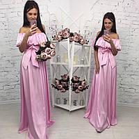 Женское летнее нарядное платье в пол с открытыми плечами в разных цветах