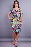 Амина. Женское платье больших размеров. Цветок зеленый.