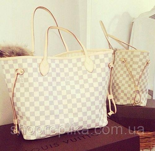 Сумка Louis Vuitton White Neverfull (большая) Белый цвет - Интернет магазин  любимых брендов