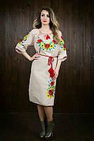 Платье женское из ткани лен с вышивкой