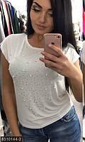 Трендовая женская футболка свободного фасона со стразами и бусинами вискоза батал