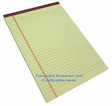 Блокнот Legal pad, стандарт, желтый с бордовой окантовкой, 50 листов