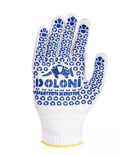 Перчатки рабочие трикотажные с рисунком ПВХ 10 класс Doloni 520