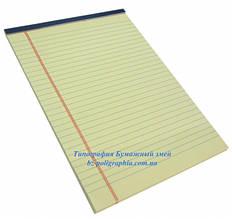 Блокнот Legal pad, стандарт, желтый с синей окантовкой, 50 листов