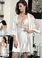 Шелковый комплект халат и ночная сорочка (пеньюар) Angel Story 6145