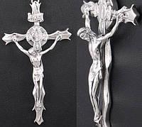 Серебряный мужской крестик с распятием большой