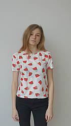 Біла жіноча футболка з кавунчиками