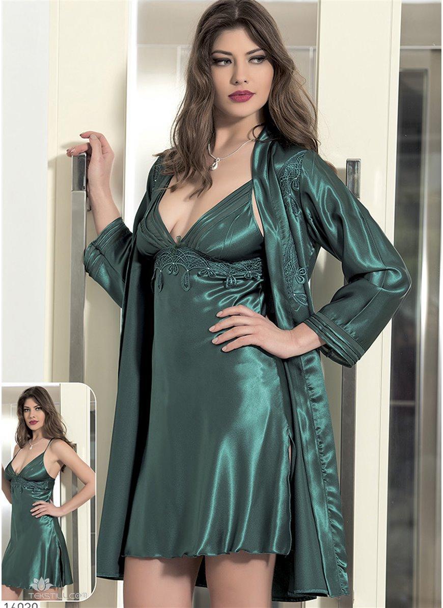 2b157e67a64f3 Шелковый комплект халат и ночная сорочка (пеньюар) Angel Story 6030 ...