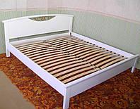 """Белая двуспальная кровать """"Фантазия"""". Массив - сосна, ольха, дуб."""