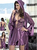 Шелковый комплект халат и ночная сорочка (пеньюар) Angel Story 6060