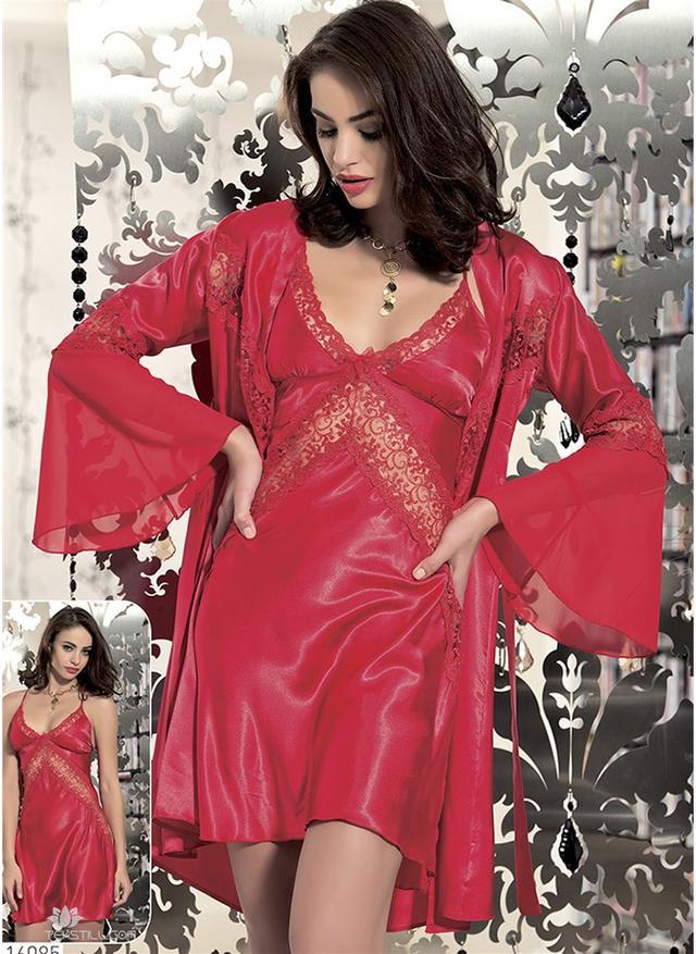 ef377ba68981c Шелковый комплект халат и ночная сорочка (пеньюар) Angel Story 6085 ...