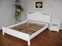 """Кровать с мягким изголовьем """"Миледи"""". Массив - сосна, ольха, дуб."""