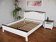 """Белая кровать с мягким изголовьем """"Констанция"""" массив - сосна, ольха, дуб."""
