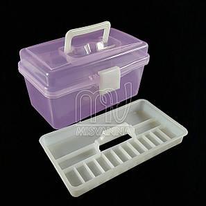 Кейс (контейнер)  для маникюрных инструментов со сьемным отделением, 11х19.5х10.5 см, фиолетовый