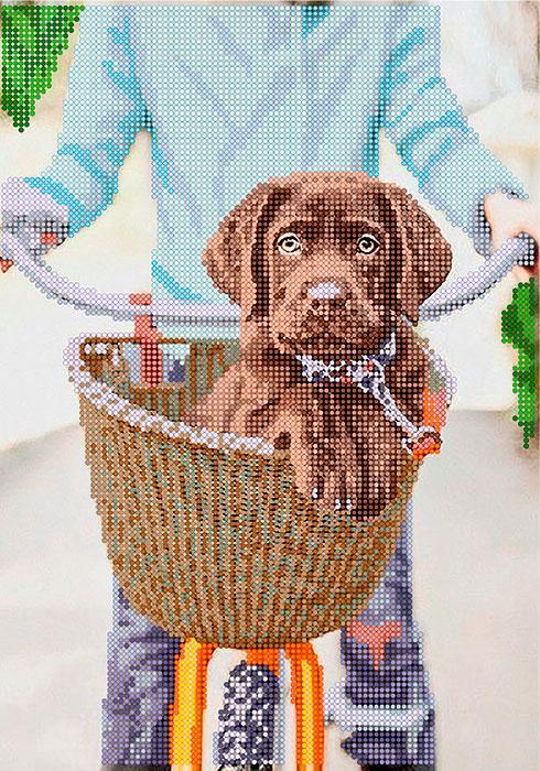 Схема для вышивки бисером POINT ART Щенок в корзине, размер 21х30 см