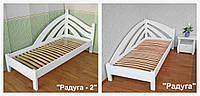 """Белая кровать из серии """"Радуга"""". Массив - сосна, ольха, дуб."""