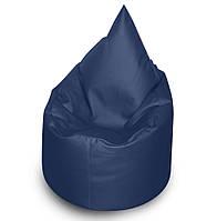 Синее бескаркасное кресло мешок Капелька из кож зама Зевс