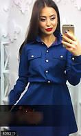 Стильное женское платье рубашка приталенного фасона на пуговицах с вышивкой плотный джинс